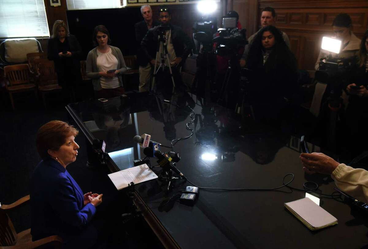 Mayor Kathy Sheehan holds a news conference to address questions about a weekend cyber attack on the city's computer system on Monday, April 1, 2019, at City Hall in Albany, N.Y. The ransomware attack was discovered Saturday morning. The mayor said the city's computer experts worked through the weekend to restore the system. (Will Waldron/Times Union)
