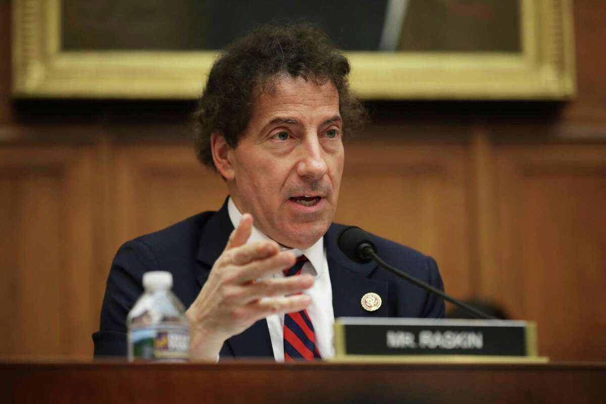 """WASHINGTON, DC - MARCH 12: Rep. Jamie Raskin (D-MD) questions witnesses during a hearing of the House Judiciary Committee's Antitrust, Commercial and Administrative Law Subcommittee in the Rayburn House Office Building on Capitol Hill March 12, 2019 in Washington, DC. The subcommittee members questioned corporate leaders and other experts testified about the """"state of competition in the wireless market"""" and the possible impacts of the proposed merger of T-Mobile and Sprint would have on consumers in rural areas, workers and the future of 5G broadband internet access. (Photo by Chip Somodevilla/Getty Images)"""