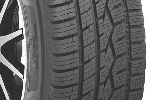 ")Toyo's Celsius tire's tread design incorporates different elements and zones to handle variable conditions, including snow. Note the ""Outside"" molded into the sidewall to make sure the tires are correctly installed. (Toyo Tires photo)"