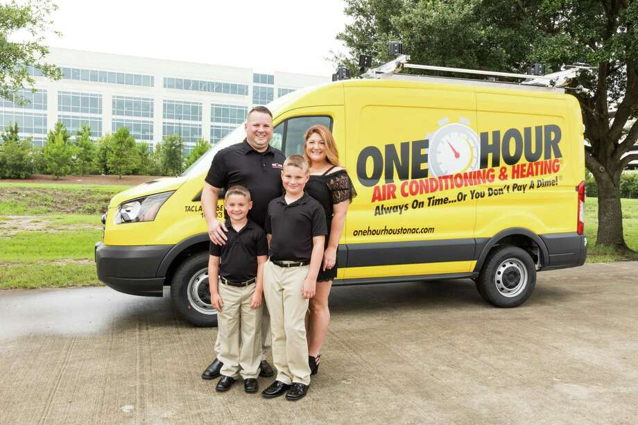 Aaron Childress, General Manager of One Hour Air Conditioning & Heating in Houston, with his family. Childress offers tips on how to keep your air conditioning unit running properly and efficiently. Photo: Courtesy Photo / ©Terry Halsey, ©TerryHalsey.co / ©TerryHalsey th@terryhalsey.com 832.248.6892  No Third Party Usage Without Written Permision from the photographer