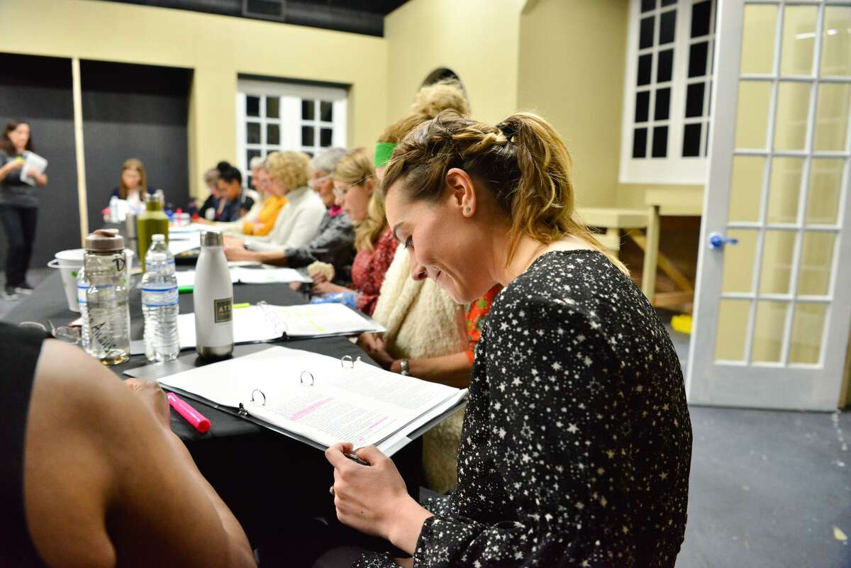 """The cast of """"Twelve Angry Men"""" prepare for a pair of readings of the play at Classic Theatre."""
