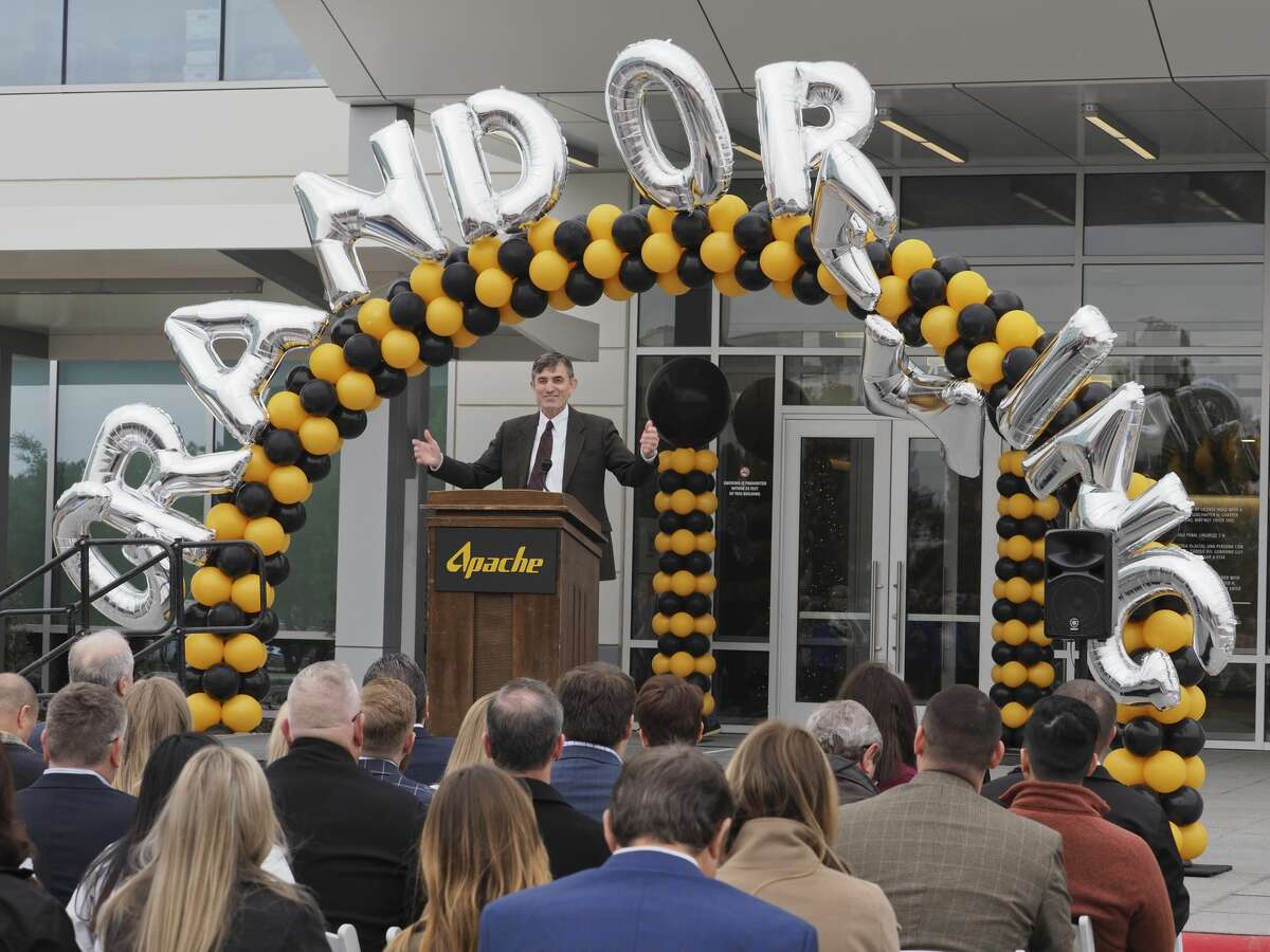 Faron Thibodeaux, Apache senior vice president of Permian Region, speaks Dec. 6 at the grand opening of the new Apache amenities building. Apache told the Reporter-Telegram in the annual outlook survey that the Permian Basin will dominate its capital budget for 2019.