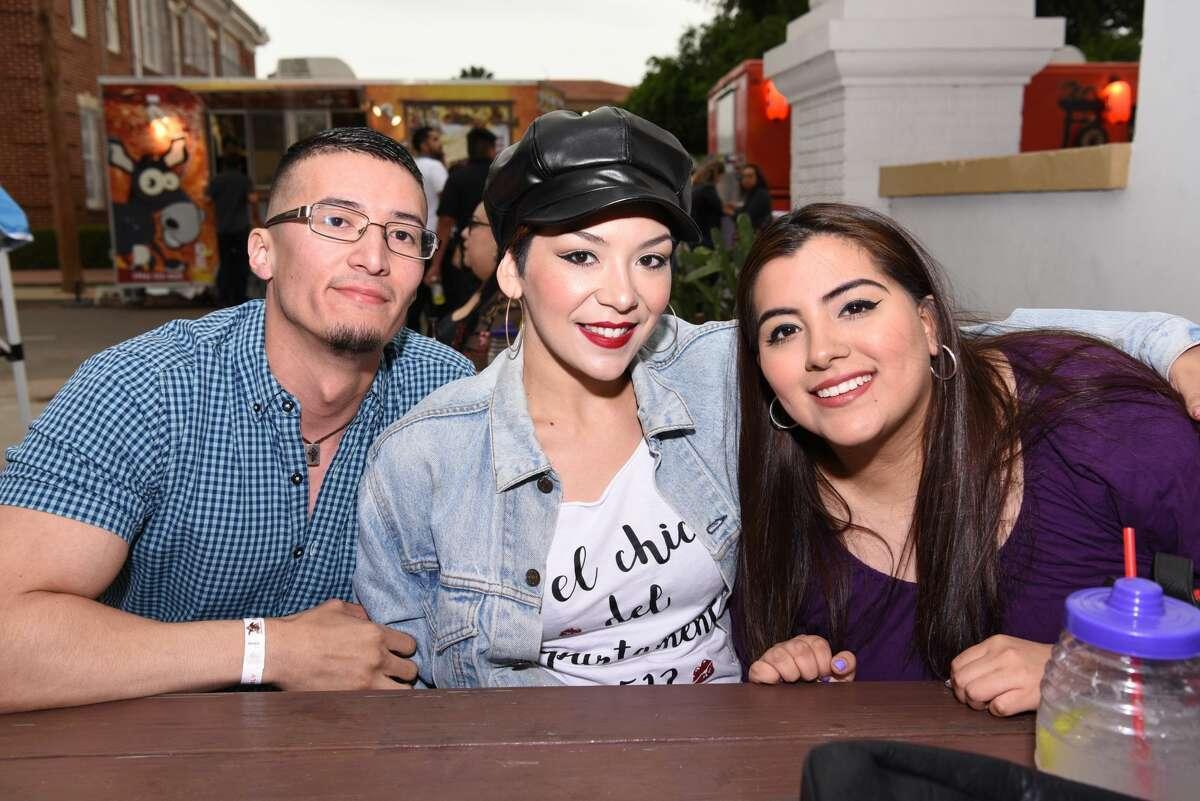 Luis Cabrera, Jackie Calderon and Carol Garcia pose for a photo during the 2nd Annual Bidi Bidi Bom Beer Pachanga.
