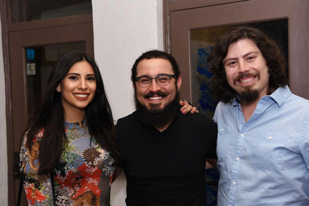 Monica Manrique, Ernesto Diego Garcia and Jorge Quijano pose for a photo during the 2nd Annual Bidi Bidi Bom Beer Pachanga.
