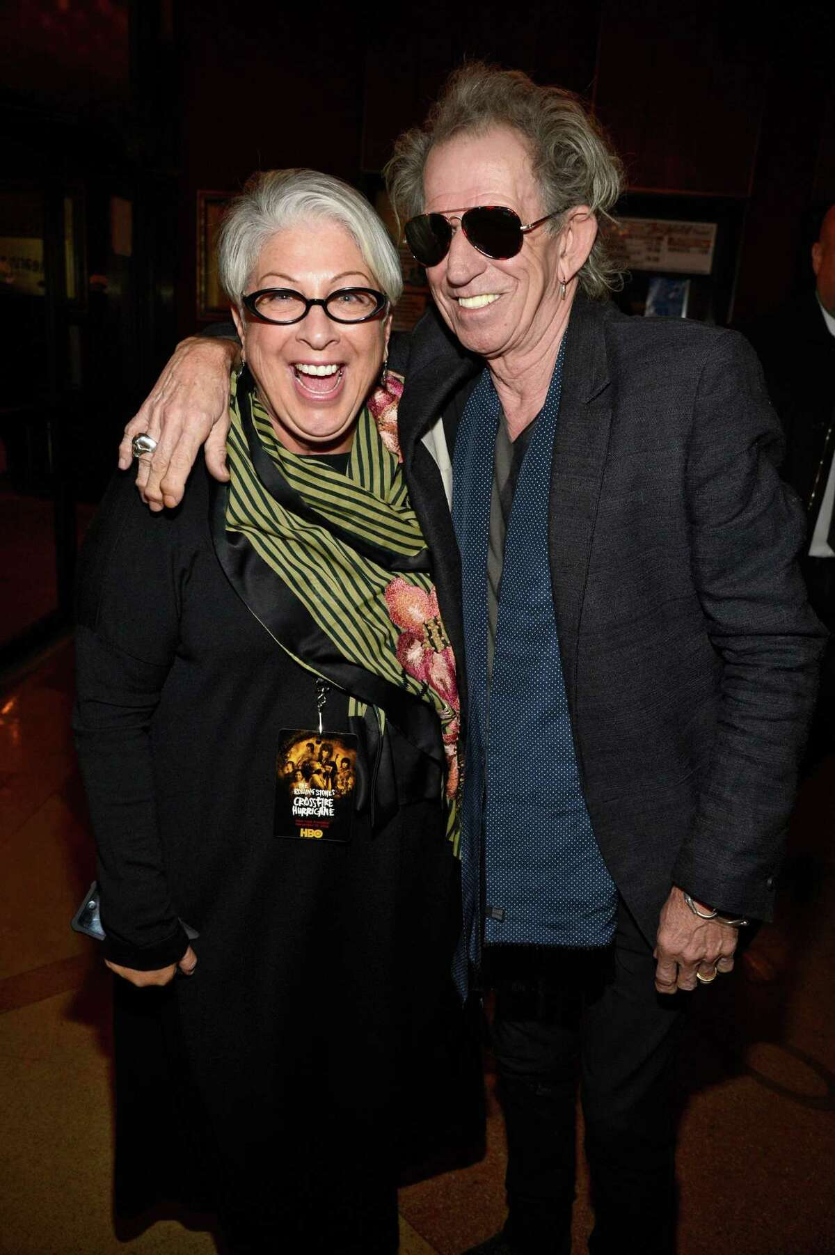 Shelley Lazar and Keith Richards of the Rolling Stones at the HBO screening of the movie