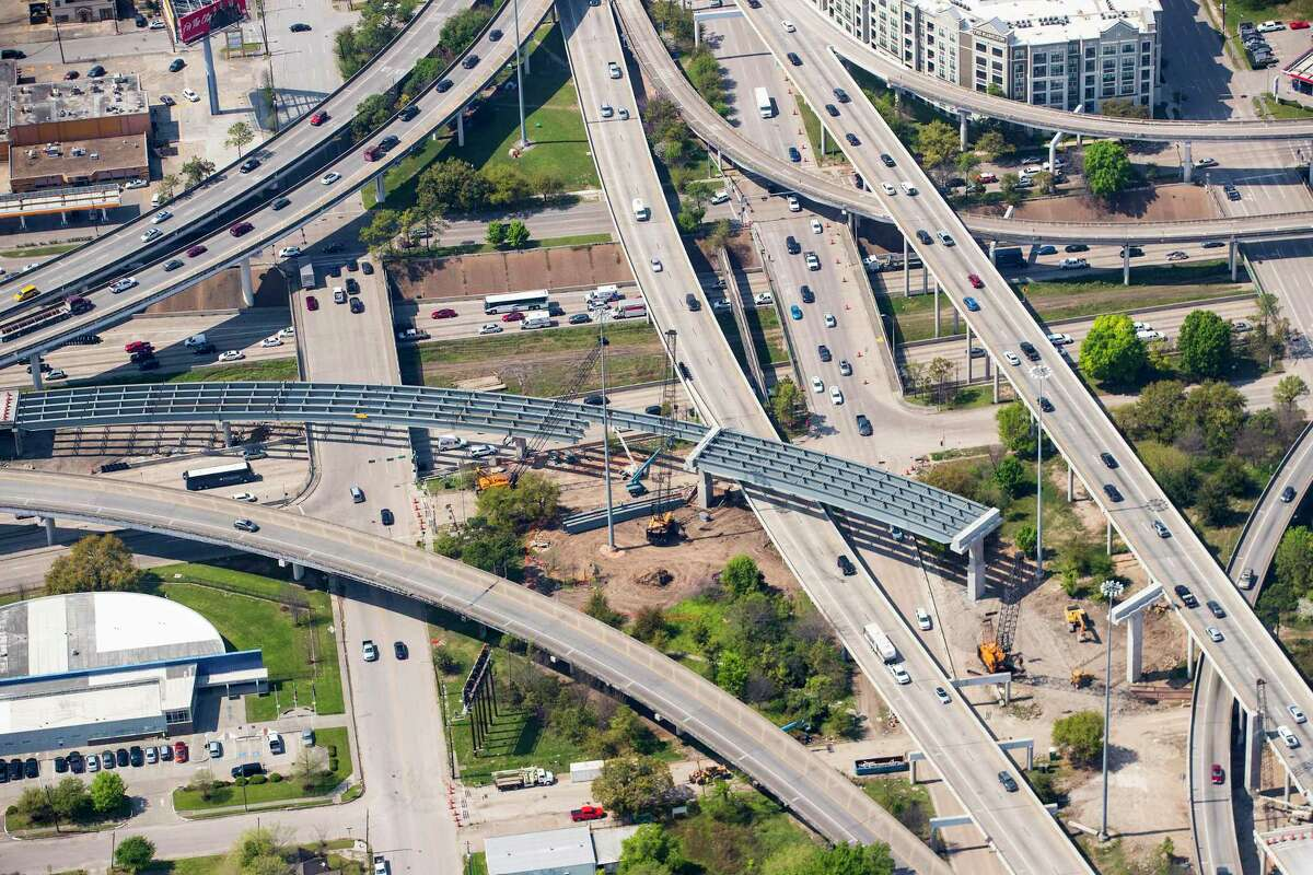 Construction near Interstate 45 just south of downtown continues on March 20.