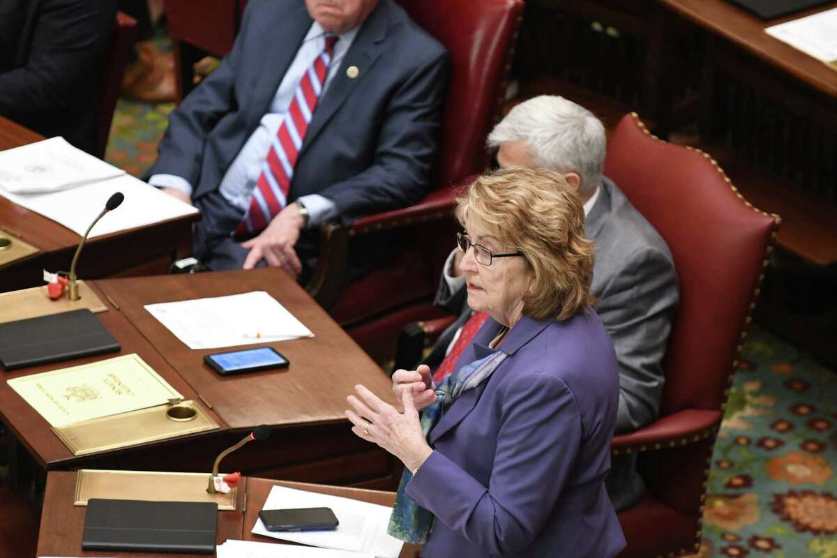 Sen. Betty Little explains her vote on raising the age for purchasing tobacco to 21 on Monday, April 1, 2019, at the Capitol in Albany, N.Y. The bill was passed by the Senate. (Will Waldron/Times Union)