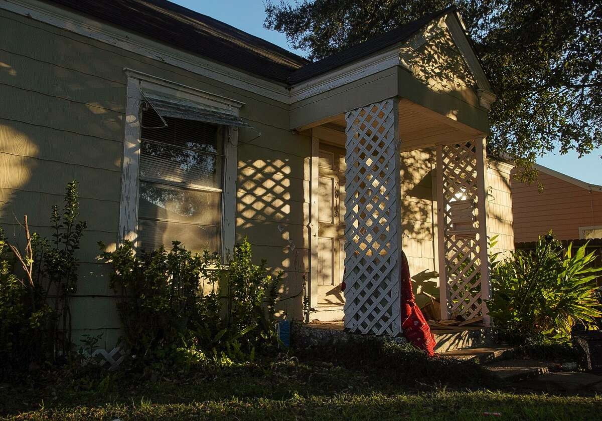 Seventeen bullet holes can be seen on the front entrance of 7815 Harding Street, where four Houston police officers were shot while serving a search warrant Jan. 28, 2019, in Houston. The home's two occupants, Rhogena Nicholas and Dennis Tuttle, were shot to death during the operation.