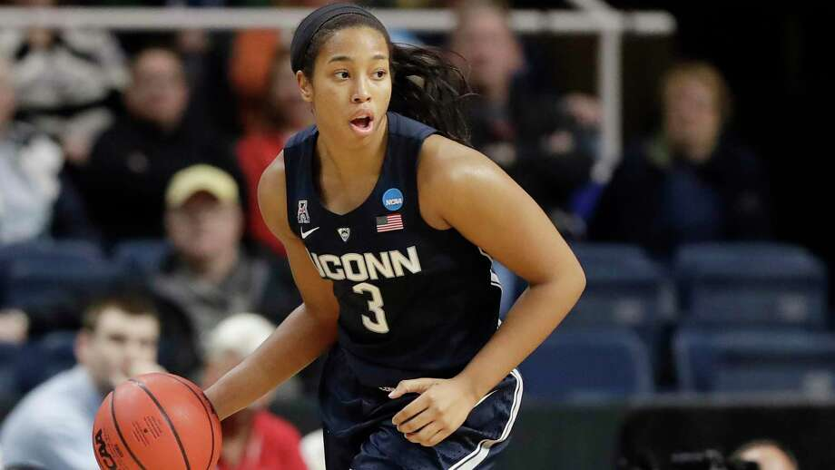 UConn's Megan Walker dribbles the ball during the first half of a regional championship game against Louisville in the NCAA women's college basketball tournament, Sunday, March 31, 2019, in Albany, N.Y. Photo: Kathy Willens / Associated Press / Copyright 2019 The Associated Press. All rights reserved.