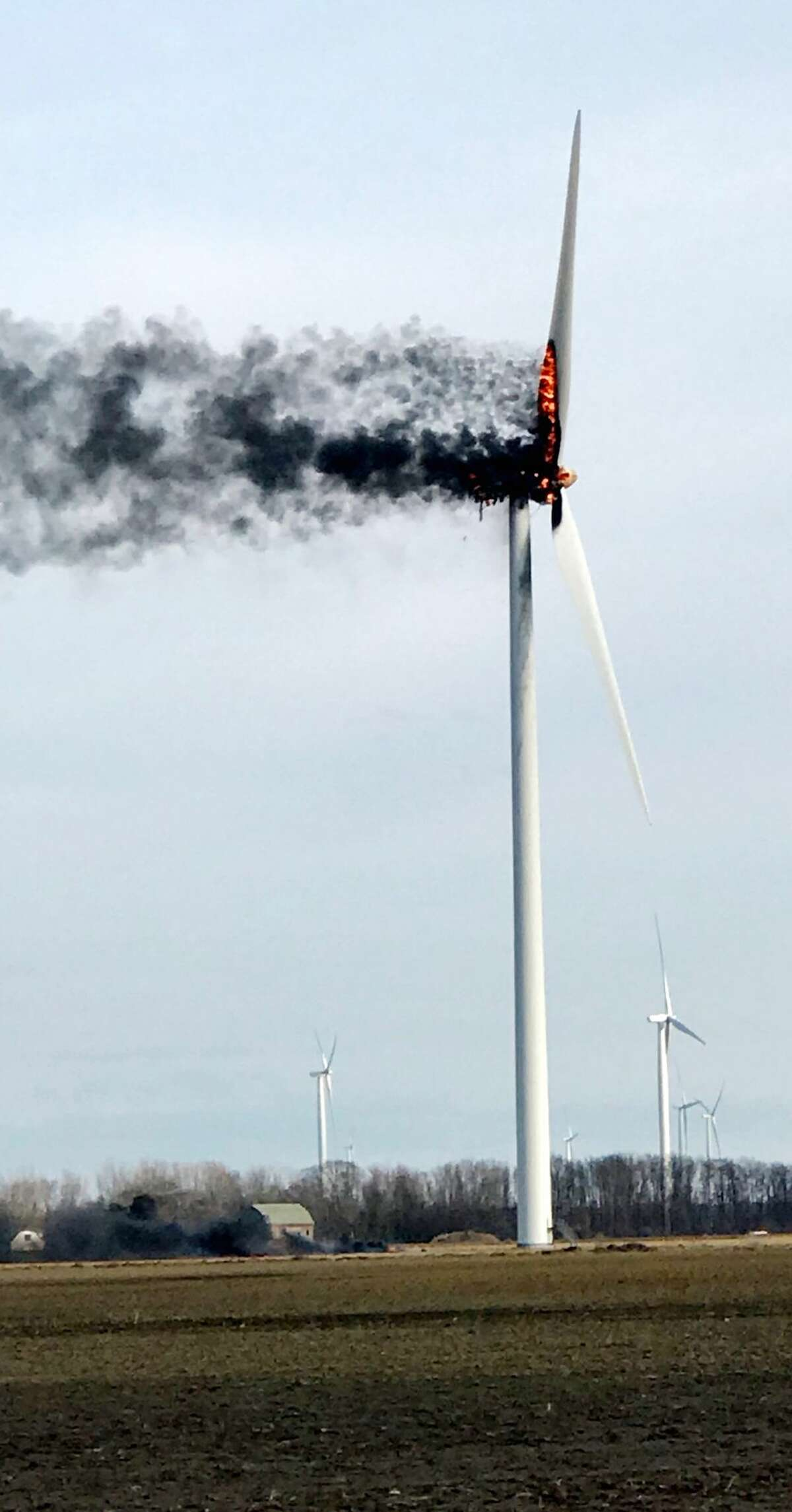 A wind turbine near the corner of Elkton and Campbell Roads, north of Elkton caught fire.
