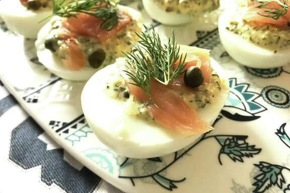 Dill Pickle Deviled Eggs with Smoked Salmon