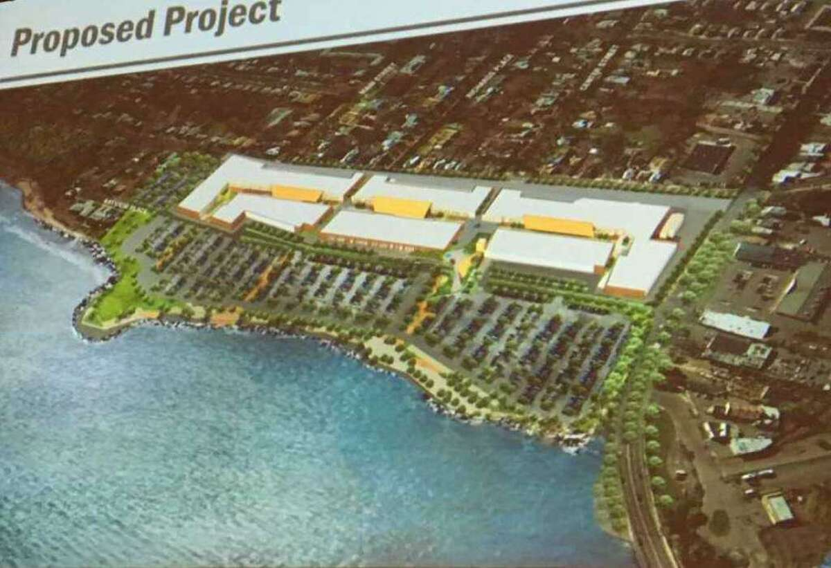 An aerial view rendering of The Haven high-end outlet mall, as presented to the West Haven Planning and Zoning Commission on July 10, 2018.