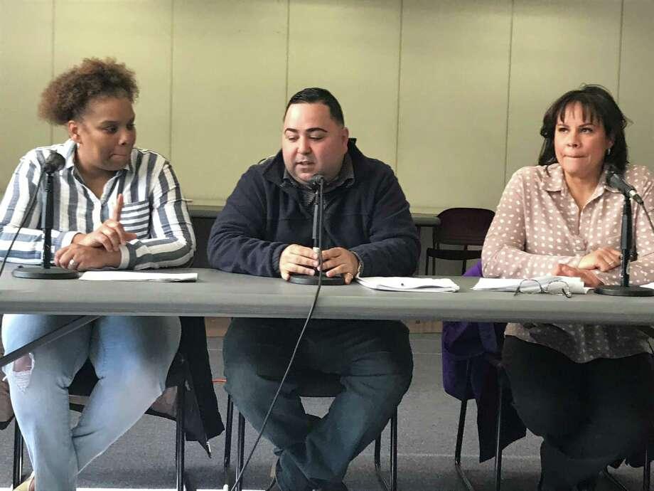 Board of Education finance committee members Tamiko Jackson-McArthur, Joe Rodriguez and Yesenia Rivera. Photo: Brian Zahn / Hearst Connecticut Media