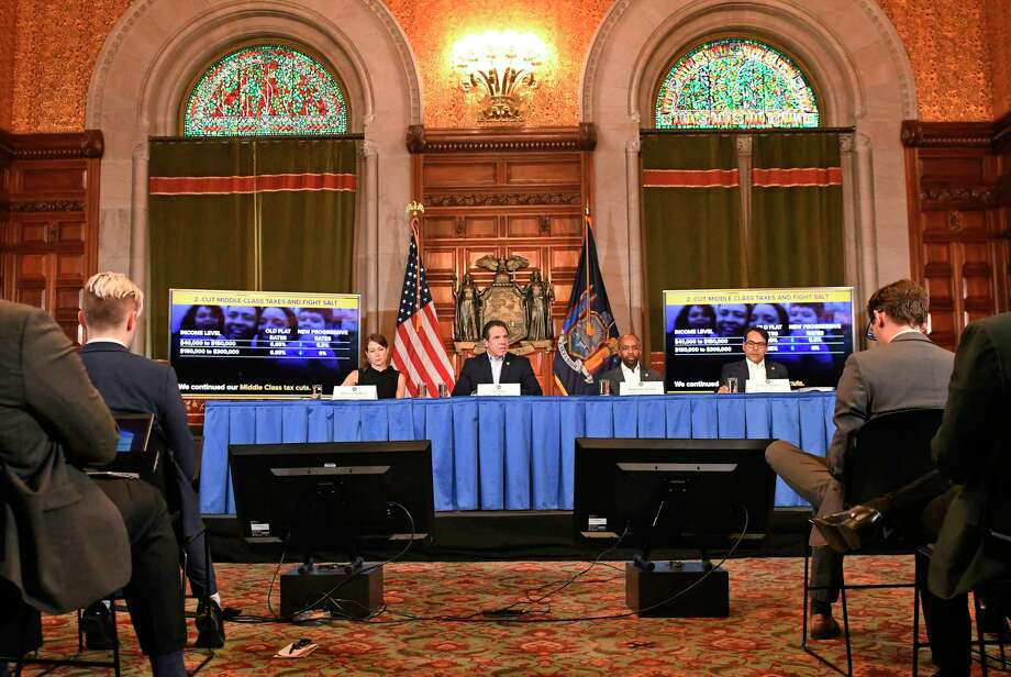 New York Gov. Andrew Cuomo speaks about the $175.5 billion state budget during a news conference in the Red Room at the state Capitol Sunday, March, 31, 2019, in Albany, N.Y. (AP Photo/Hans Pennink) Photo: Hans Pennink / Copyright 2019 The Associated Press. All rights reserved.