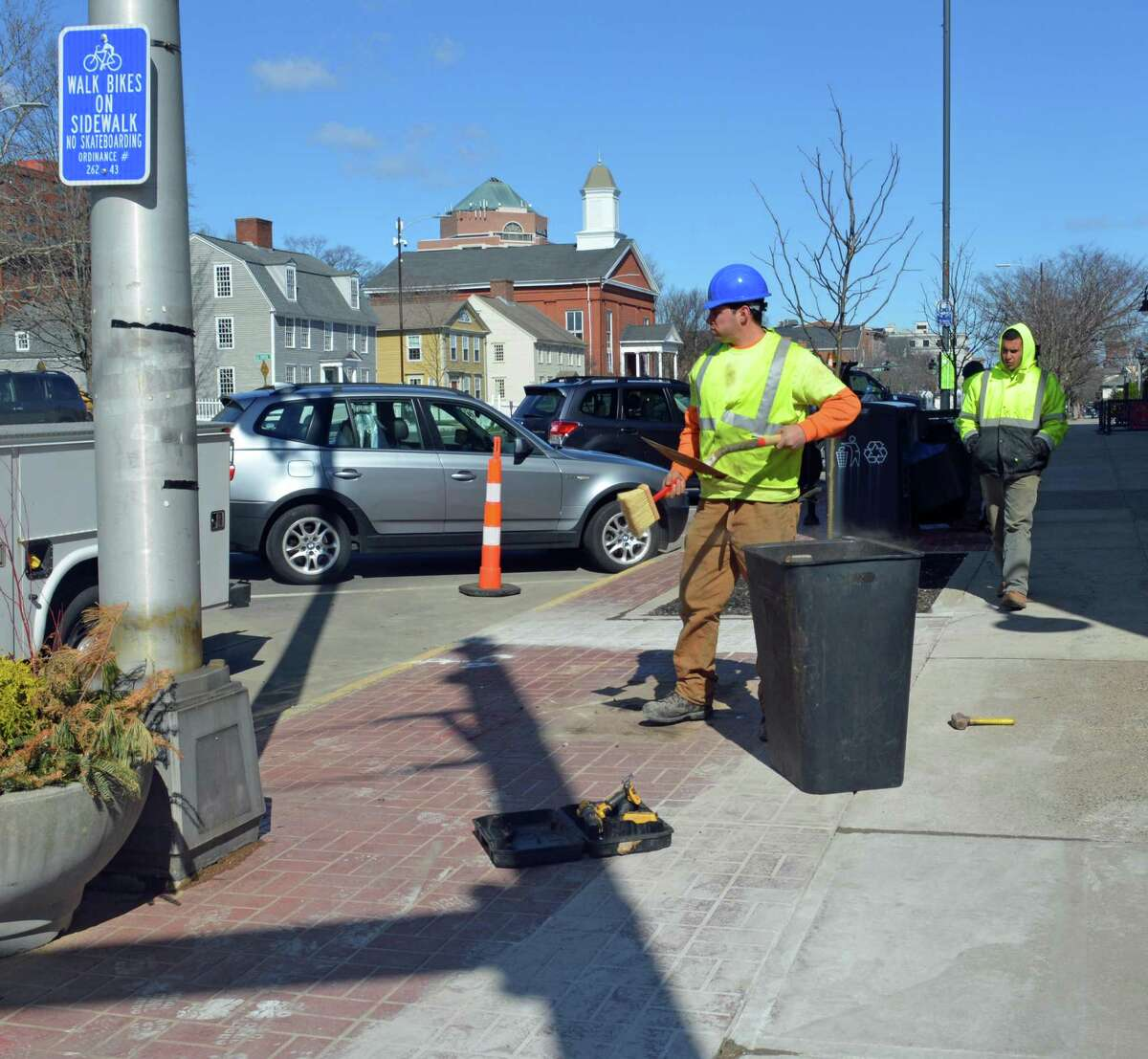 Construction crews were out Monday morning at the corner of Union and Main streets in Middletown, preparing the sidewalk area for the building of pedestrian bump-outs, which is expected to begin Tuesday and progress north down to Green Street.
