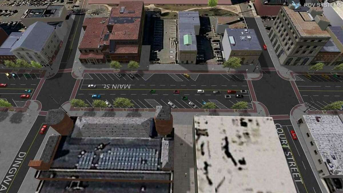 Engineering renderings illustrate Middletown's Main Street curb extensions, an estimated three-month-long project which began Monday.