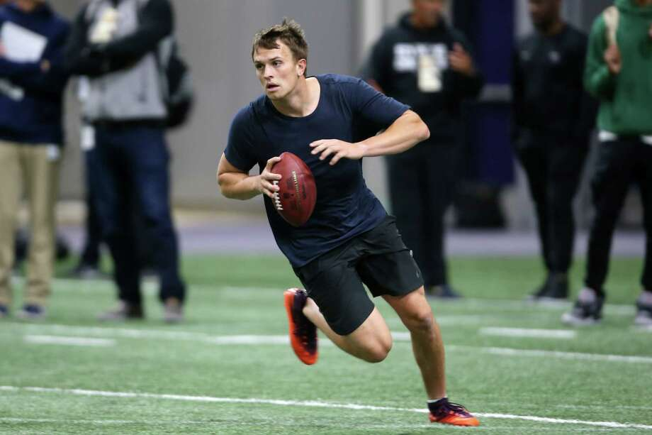 University of Washington quarterback Jake Browning participates in the annual NFL Pro Day at UW's Dempsey Indoor Facility, Monday, April 1, 2019. Photo: Genna Martin / seattlepi.com