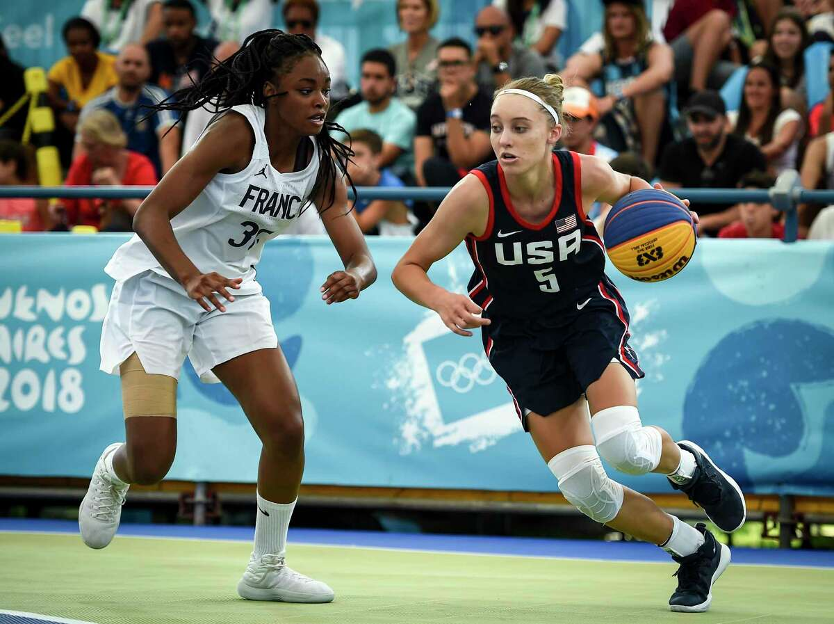 Paige Bueckers, of the United States, controls the ball against France's Olivia Yale in the women's gold medal fame during the Youth Olympic Games at Urban Park Puerto Madero on Oct. 17 in Buenos Aires, Argentina.