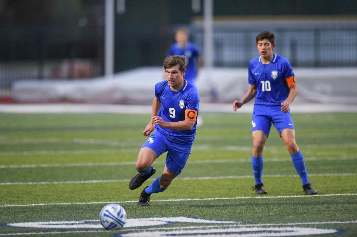 Ethan Hanson, left, leads New Braunfels with 17 goals this season.