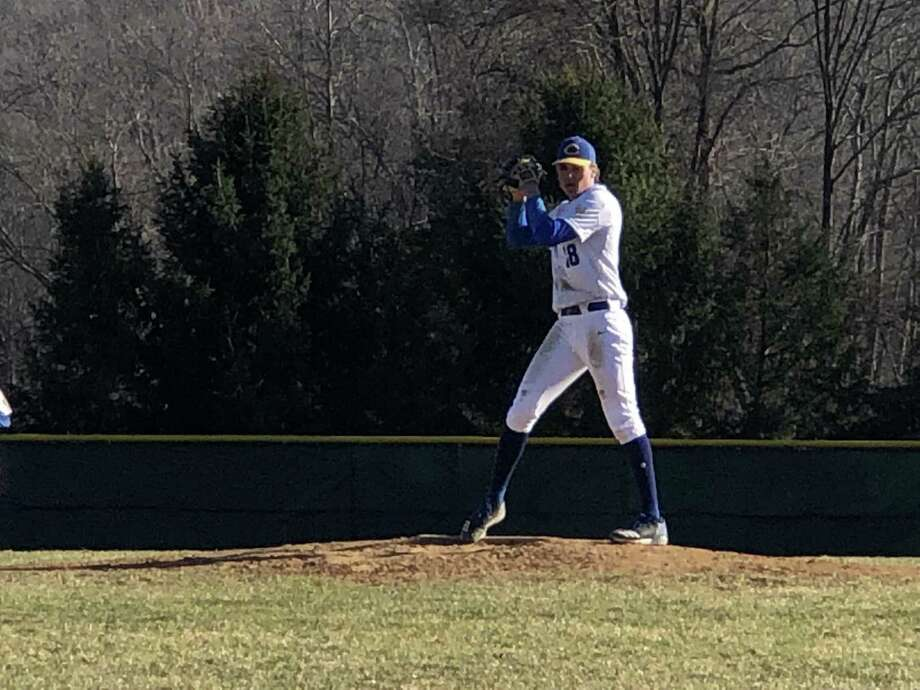 Pitcher Christo Garrelts picked up the win for Haddam-Killingworth on Monday. Garrelts also drove in three runs. Photo: Paul Augeri / For Hearst Connecticut Media
