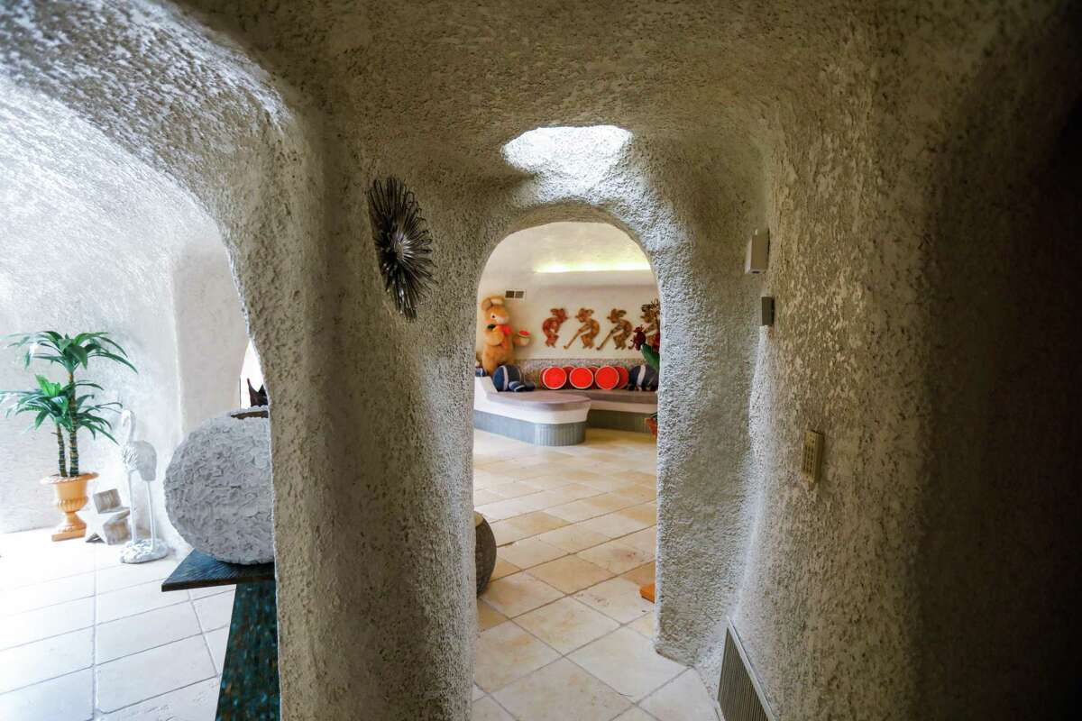 The hallway inside the controversial Flintstone House in Hillsborough owned by Florence Fang.