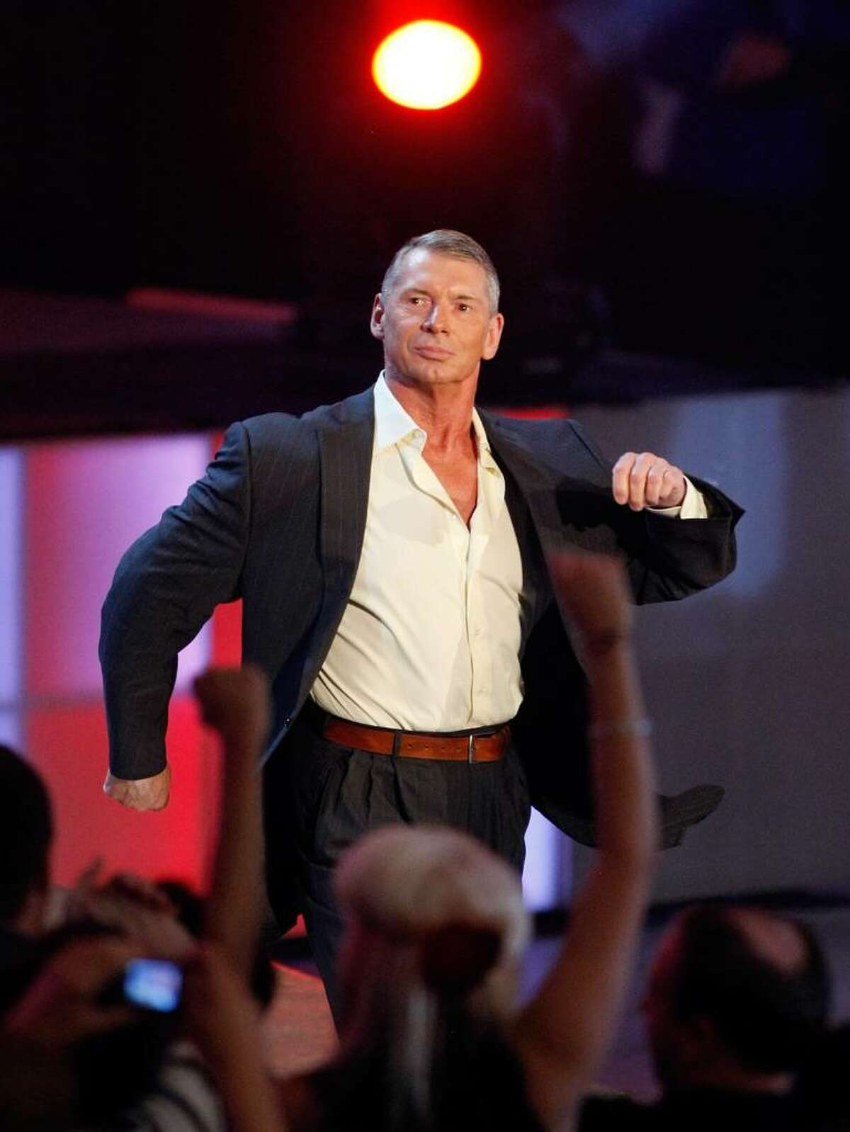 World Wrestling Entertainment Inc. Chairman Vince McMahon is introduced during the WWE Monday Night Raw show at the Thomas & Mack Center August 24, 2009 in Las Vegas, Nevada.