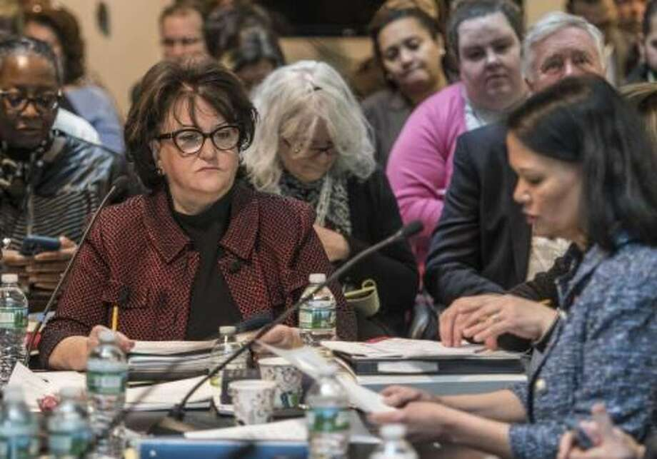 Commissioner of Education MaryEllen Elia, left, listens to presentations during the New York State Board of Regents monthly meeting which cover various subjects Monday March 12, 2018 Albany, N.Y. Photo: Skip Dickstein/Times Union