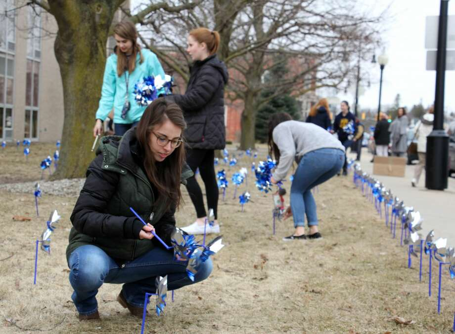 Bad Axe High School students and other members of the community joined the Huron County CA/N Council on Tuesday to plant a garden of pinwheels on the Huron County Building lawn. The efforts are to raise awareness to the prevention of abuse and neglect for Huron County's littlest residents. Together, students and community members planted more than 500 pinwheels. Photo: Bradley Massman/Huron Daily Tribune