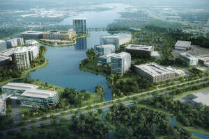 A rendering of the 77-acre Research Forest Lakeside development.