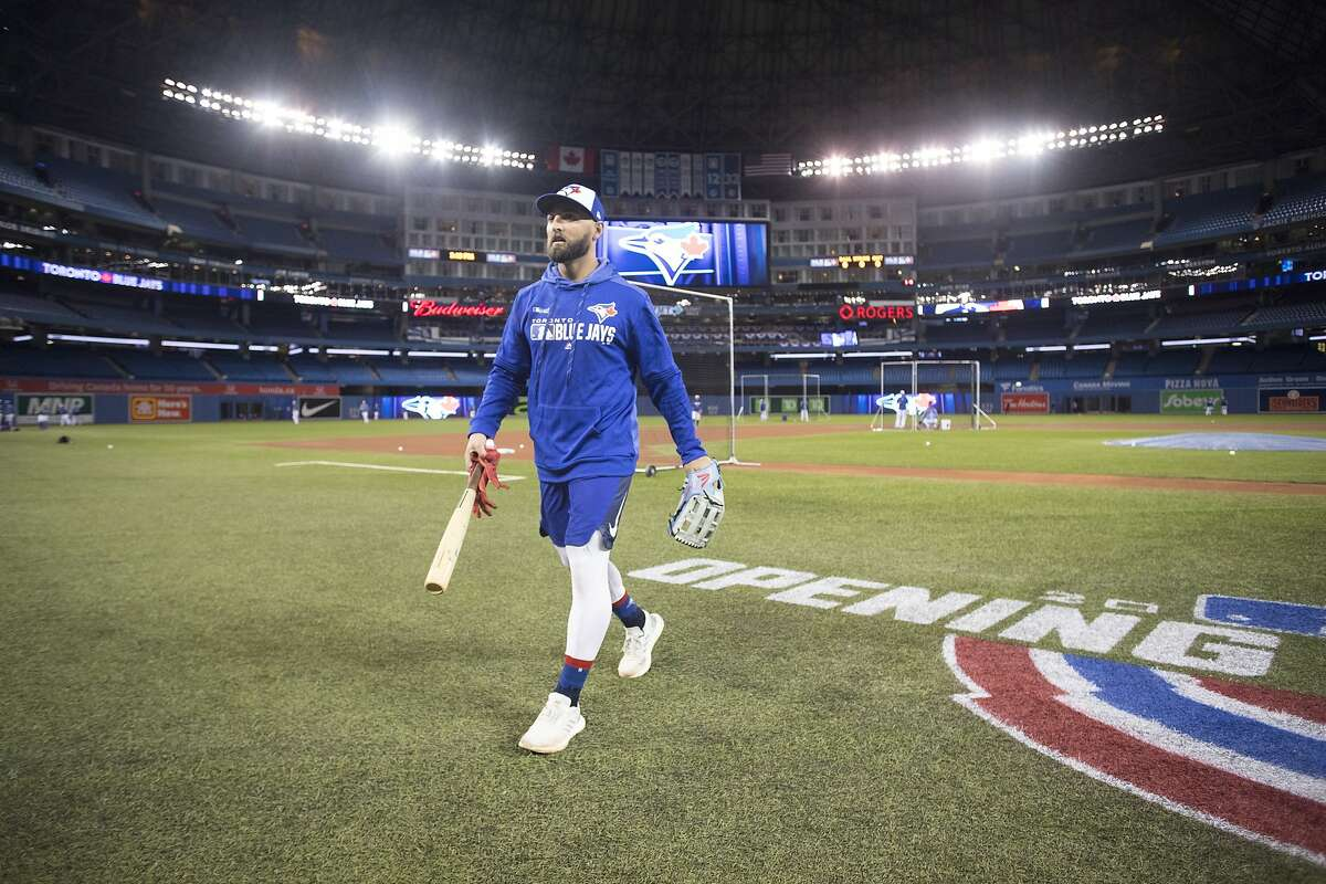 Toronto Blue Jays' Kevin Pillar leaves the field after a baseball workout in Toronto, Wednesday, March 27, 2019. The Blue Jays host the Detroit Tigers on opening day Thursday. (Chris Young/The Canadian Press via AP)