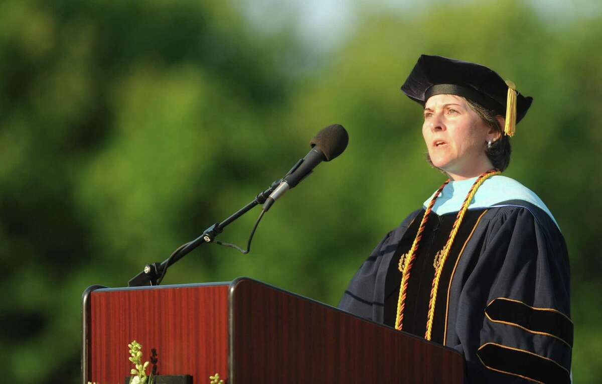 Headmaster Beth A. Smith speaks during Shelton High School's 2013 commencement ceremony