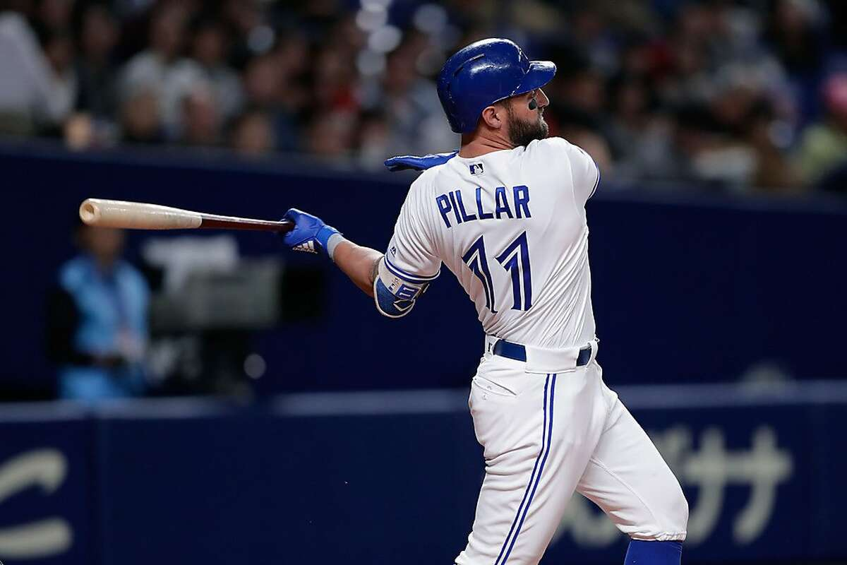 NAGOYA, JAPAN - NOVEMBER 15: Outfielder Kevin Pillar #11 of the Tronto Blue Jays hits a single in the bottom of 3rd inning during the game six between Japan and MLB All Stars at Nagoya Dome on November 15, 2018 in Nagoya, Aichi, Japan. (Photo by Kiyoshi Ota/Getty Images)
