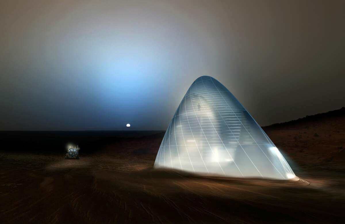 The first-place award of $25,000 went to Team Space Exploration Architecture and Clouds Architecture Office of New York, New York, for their design, Mars Ice House in the 2015 3-D Printed Habitat Challenge.