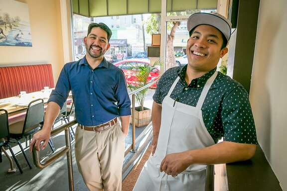 Chef/owner Shawn Naputi (apron) and his biz partner Shawn Camacho at Prubechu in San Francisco, Calif., are seen on Saturday, April 5th, 2014.
