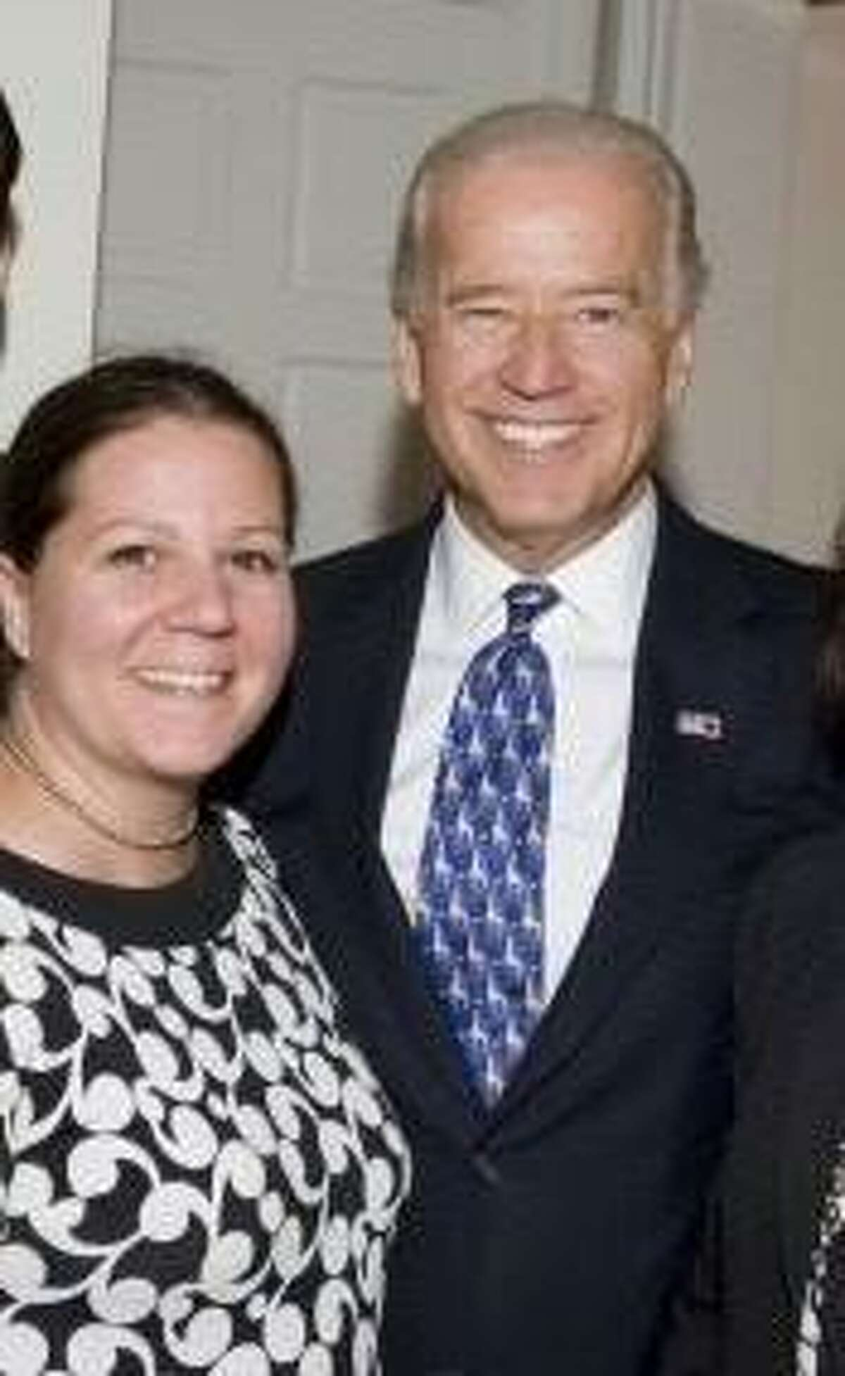 Amy Lappos, left, with then-Vice President Joe Biden at a 2009 fundraising event in Greenwich.