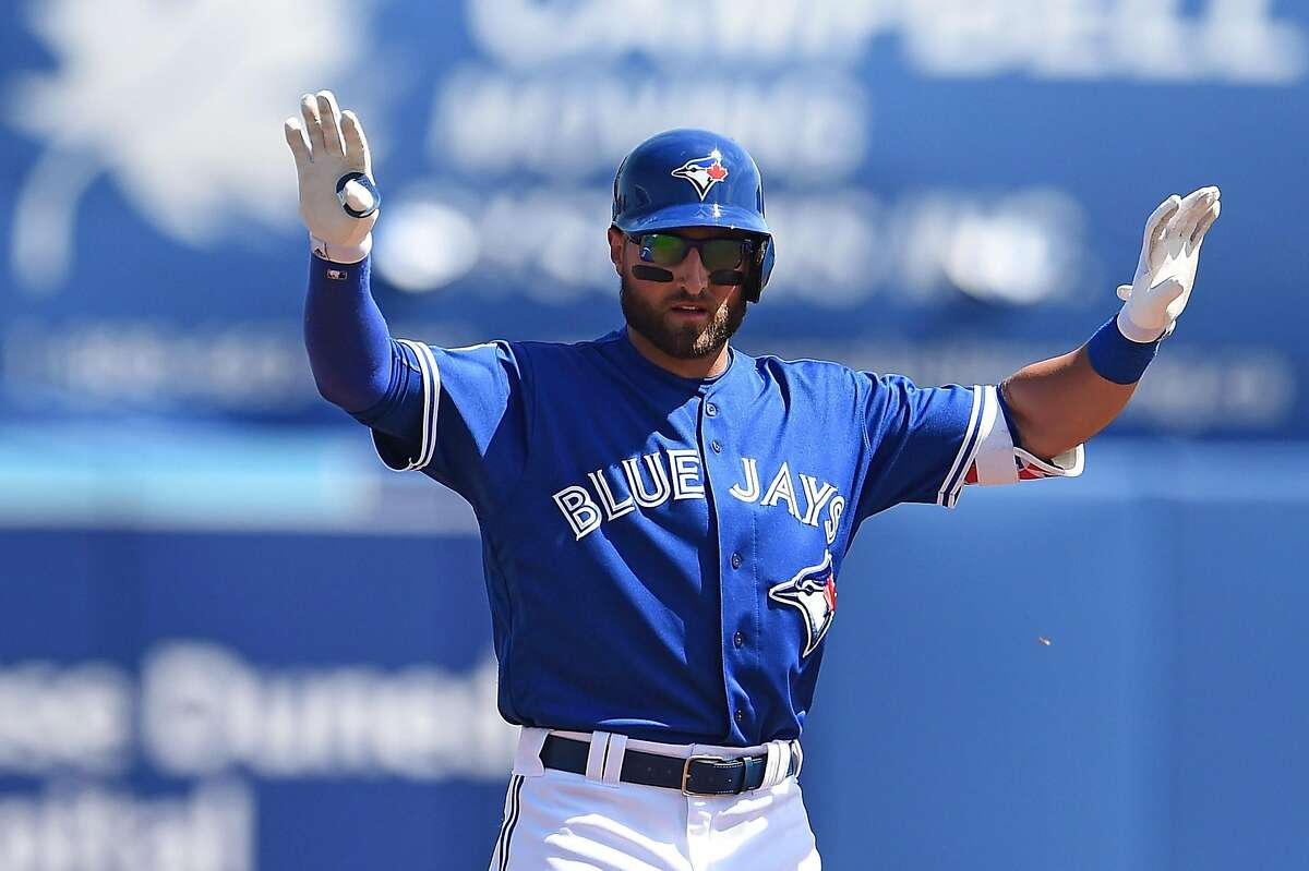 DUNEDIN, FL - MARCH 07: Kevin Pillar #11 of the Toronto Blue Jays reacts to a double during the first inning of a spring training game against the Atlanta Braves at Florida Auto Exchange Stadium on March 7, 2016 in Dunedin, Florida. (Photo by Stacy Revere/Getty Images)