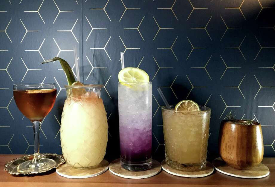 A selection of cocktails from Jet-Setter, from left: Up to Date, Maritime Commerce, Disco Lemonade, Alamo City and Spruce Goose. Photo: Paul Stephen / Staff