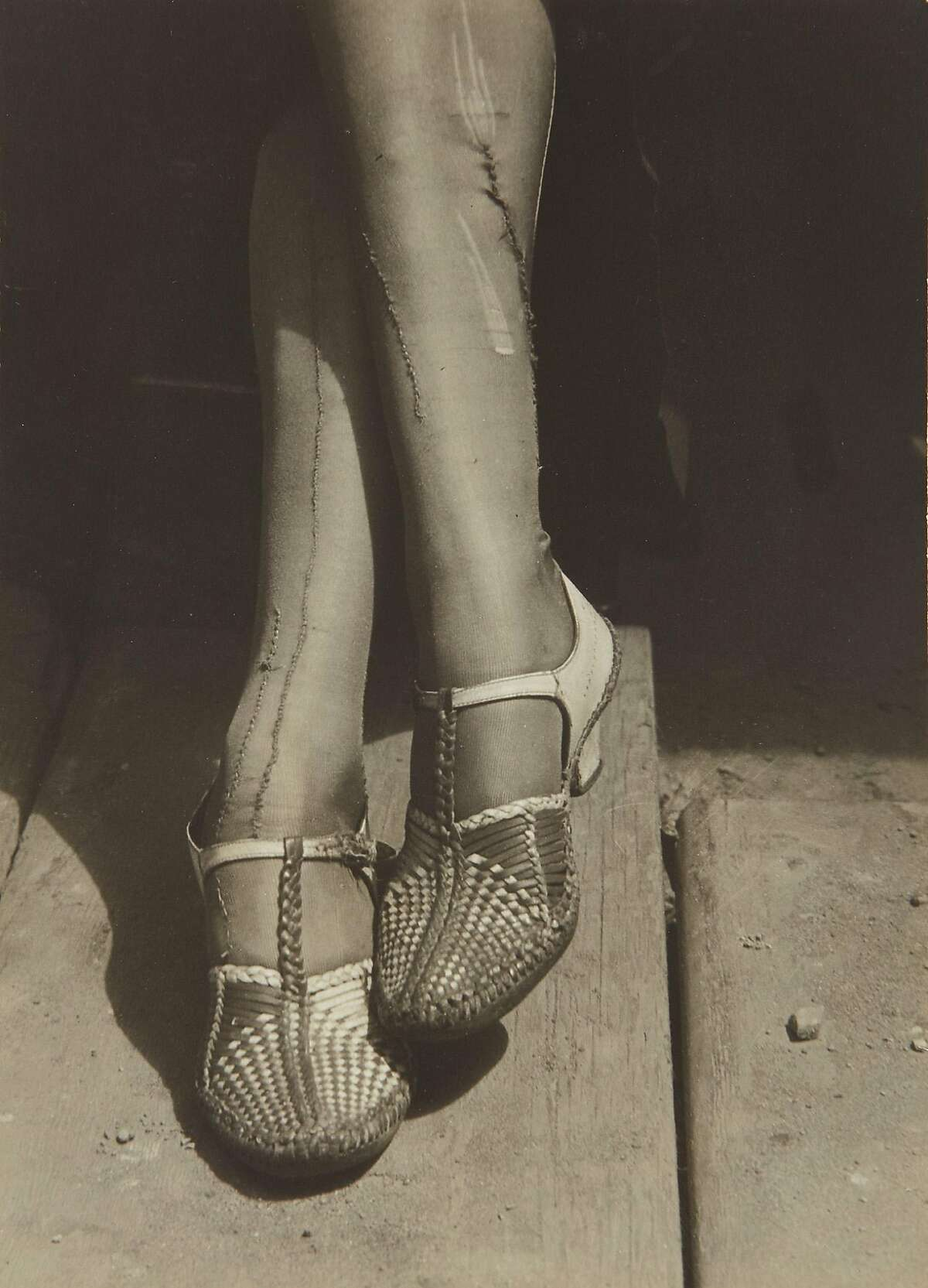 A Sign of the Times -- Mended Stockings, Stenographer, San Francisco, 1934