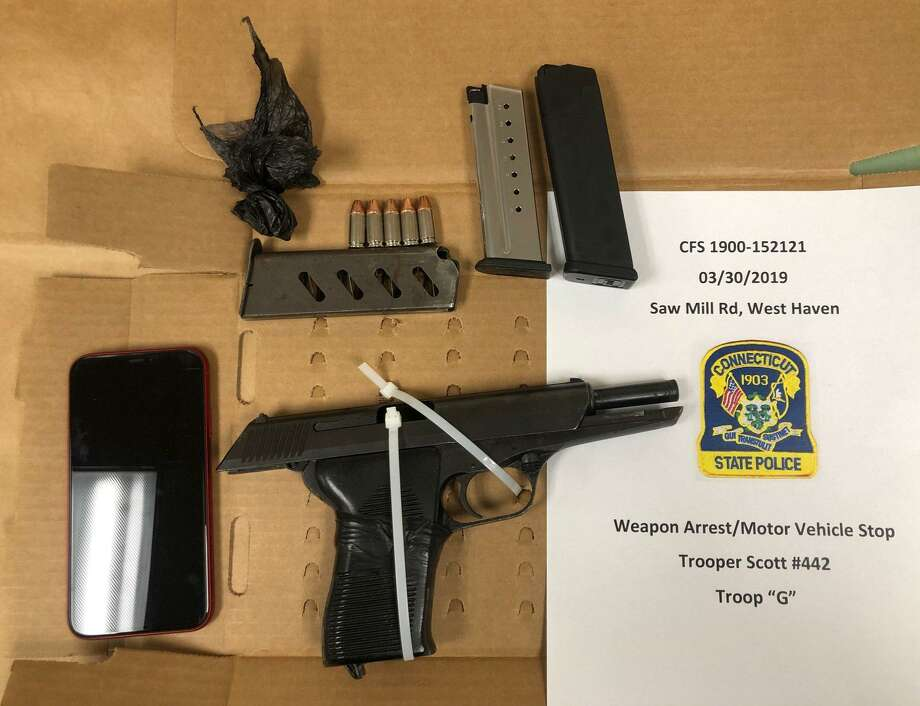 Connecticut State Police said they found several weapons after a motor vehicle stop on I-95 in West Haven this weekend. Photo: Courtesy Of Connecticut State Police