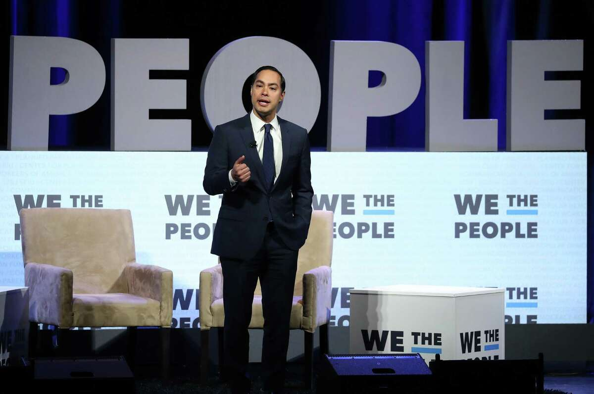 """WASHINGTON, DC - APRIL 01: Former HUD secretaryJulian Castrospeaks at the We the People"""" summit featuring 2020 presidential candidates, at the Warner Theatre on April 1, 2019 in Washington, DC. The summit is hosted by The Center for Popular Democracy Action, Planned Parenthood, Sierra Club and the Communications Workers of America. (Photo by Mark Wilson/Getty Images)"""