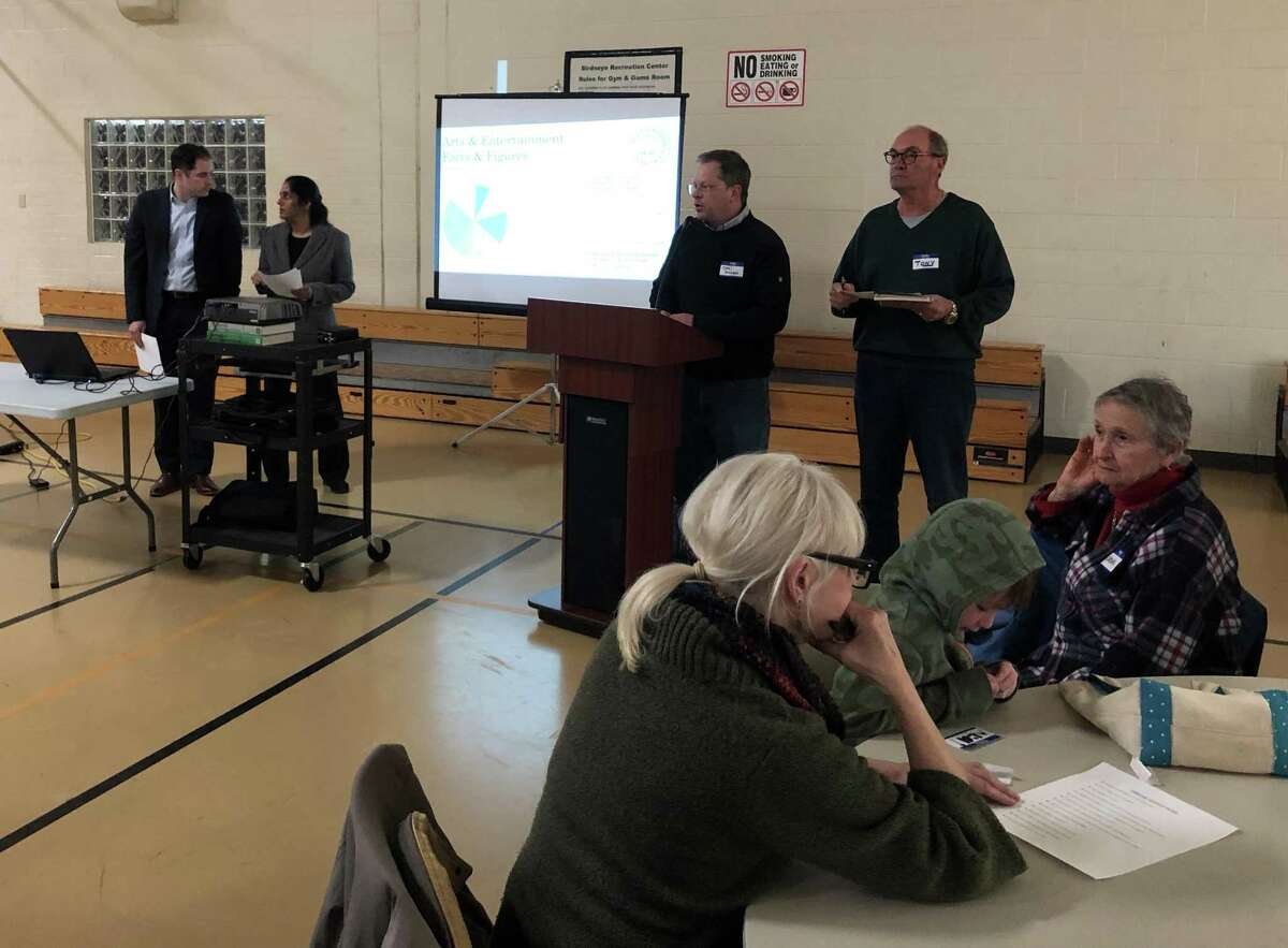 About 80 people attended the first of three workshops hosted by Stratford's Shakespeare Property Task Force to discuss what happens next with the property April 1 at the Birdseye Municipal Complex.
