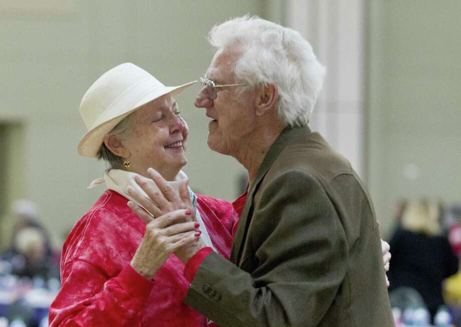 Virginia Burrell dances with her husband of 57 years, Jimmy, during senior citizens day at the Montgomery County Fair and Rodeo, Tuesday, April 2, 2019, in Conroe. Photo: Jason Fochtman, Houston Chronicle / Staff Photographer / © 2019 Houston Chronicle