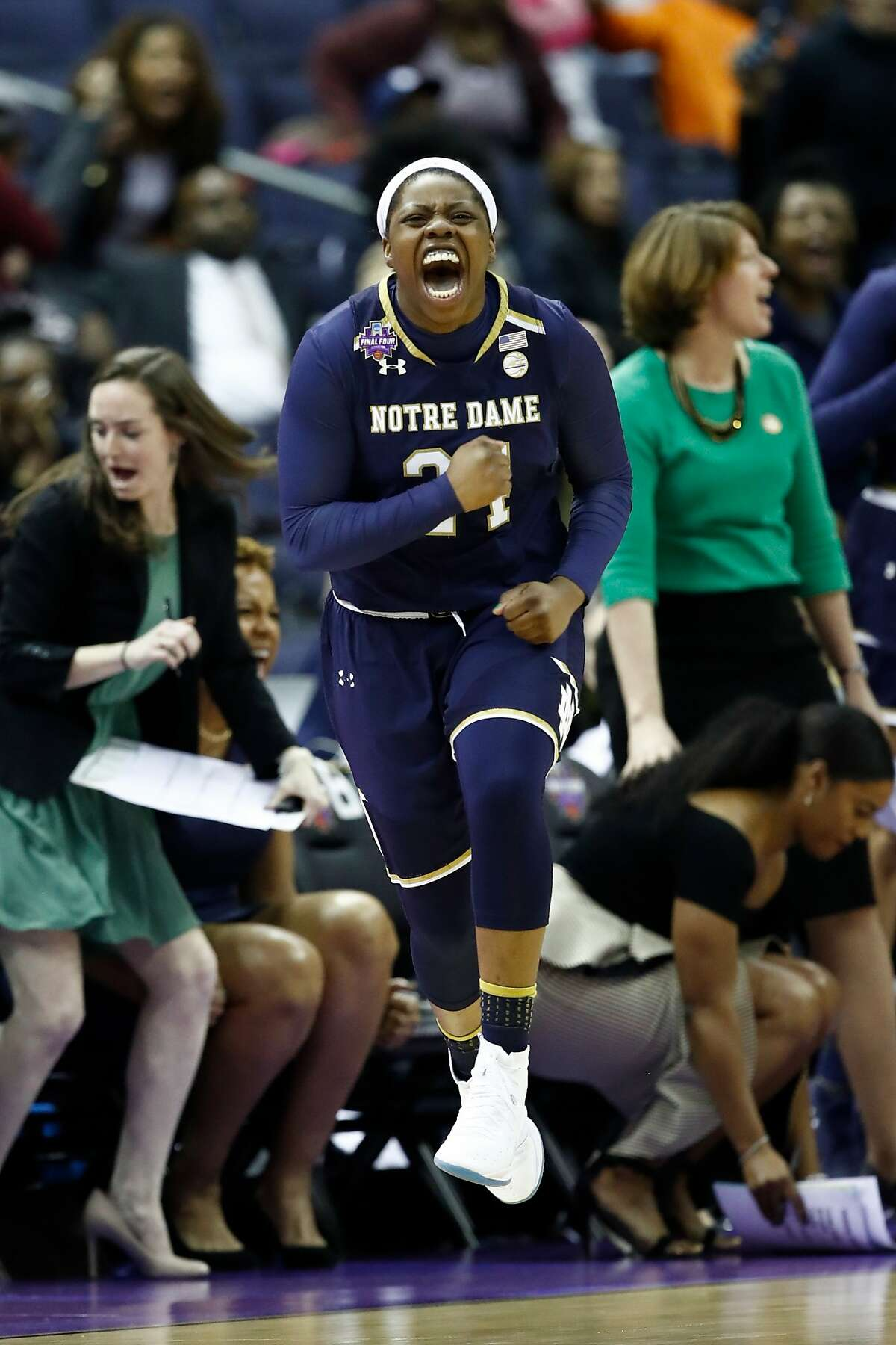 Arike Ogunbowale, G, Notre Dame Like Ionescu, Arike Ogunbowale has the tenacity and fire to simply take over a game, something she flashed with her jaw-dropping buzzer-beater to win last year's NCAA Tournament. She's continued her dominance in her senior season, averaging a whopping 21.5 PPG while shooting 45 percent from the field. With nearly five rebounds and four assists per contest, Ogunbowale is a prolific scorer and all-around player. Teams love athletes with her skillset - and ones with her passion doubly so.
