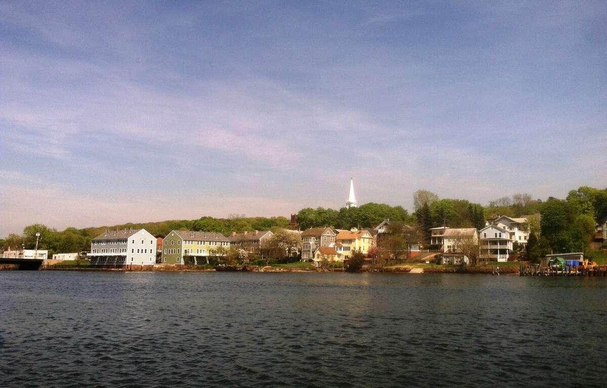 Looking across the Quinnipiac River from Quinnipiac River Park in the Fair Haven neighborhood of New Haven.