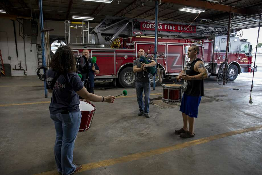Odessa Fire Rescue Pipes and Drums Corp practices at Fire Station No. 6 on Thursday, March 28, 2019. Photo: Jacy Lewis/191 News