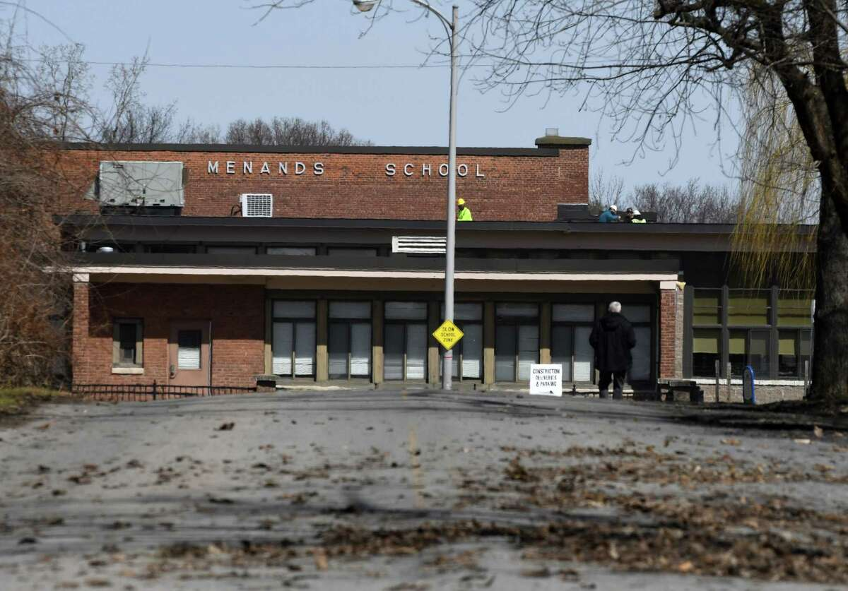 Exterior of the Menands School on Tuesday, April 2, 2019, in Menands, N.Y. (Will Waldron/Times Union)