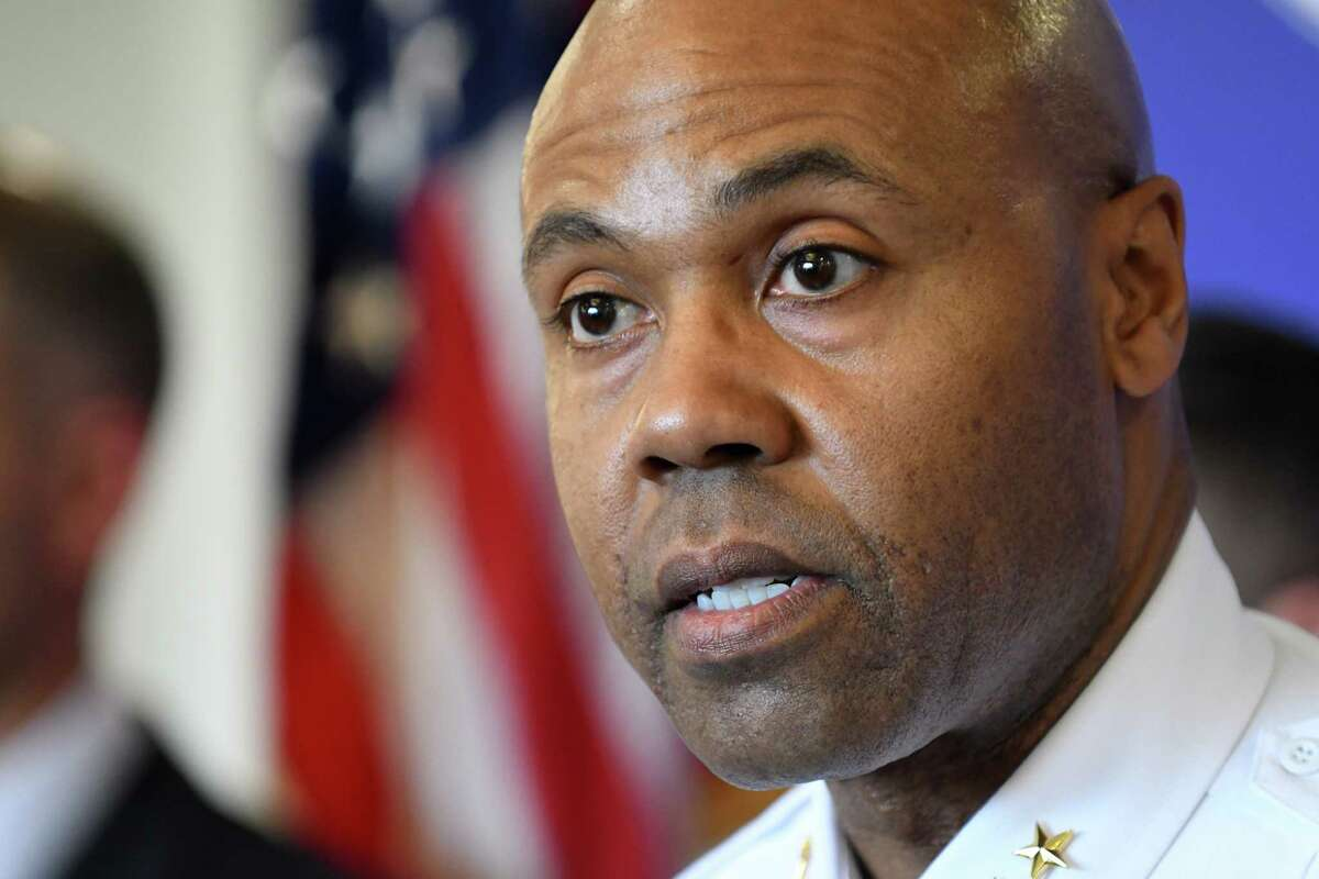 Albany Police Chief Eric Hawkins speaks during a press conference to address an alleged assault by Albany police officers on Tuesday, April 2, 2019, at the police headquarters in Albany, N.Y. The incident took place on March 16 after police responded to a call for loud music. (Will Waldron/Times Union)