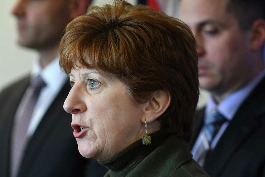 Mayor Kathy Sheehan speaks during a press conference to address an alleged assault by Albany police officers on Tuesday, April 2, 2019, at the police headquarters in Albany, N.Y. The incident took place on March 16 after police responded to a call for loud music. (Will Waldron/Times Union)