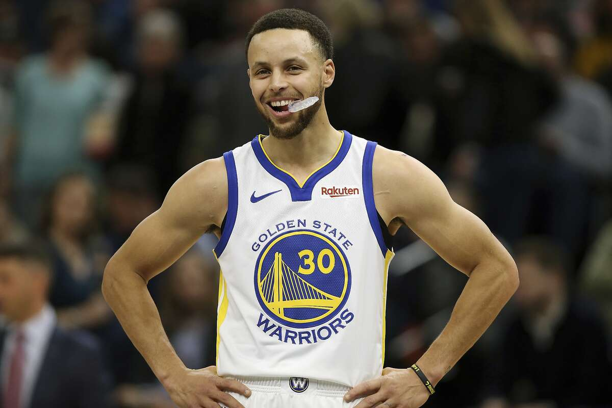Golden State Warriors' Stephen Curry in the first half of an NBA basketball game against the Minnesota Timberwolves, Friday March 29, 2019, in Minneapolis. The Timberwolves won 131-130 in overtime. (AP Photo/Stacy Bengs)