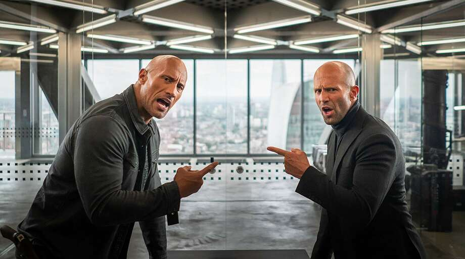 Dwayne Johnson and Jason Statham in 'Hobbs & Shaw.' (Universal)